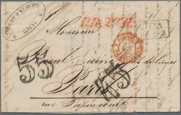 """Preußen - Stempel: 1855, Markenloser Briefumschlag Aus Altena Vom """"19.10."""" Adressiert Nach Paris Mit - Preussen"""