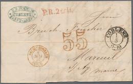 """Preußen - Stempel: 1857, Markenloser Briefumschlag Aus Koblenz, Datiert """"1/5"""", Adressiert Nach Frank - Preussen"""