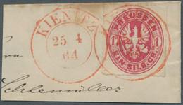 """Preußen - Stempel: 1864, Hilfspostämter, Roter Abschlag """"KIENITZ / 25 4 64"""", Sehr Klar Auf Adler 1 S - Preussen"""