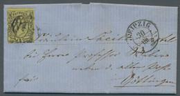 """Sachsen - Marken Und Briefe: 1855, """"Johann I."""" 3 Neu-Groschen Schwarz Auf Mattgelb Entwertet Mit Num - Sachsen"""
