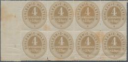 Schleswig-Holstein - Marken Und Briefe: 1865, 4 S./3 Sgr. Ockerbraun Im Waagerechten Rand-8er-Block - Thurn Und Taxis