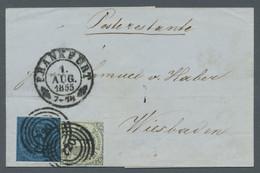 Thurn & Taxis - Marken Und Briefe: 1855, Freimarken 1 Und 3 Kreuzer Auf Brief Nach Wiesbaden Mit Sch - Thurn Und Taxis