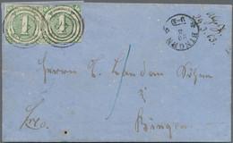 Thurn & Taxis - Marken Und Briefe: 1859, 2 X 1 Kr Grün, Entwertet Mit Nr.-Stpl. '97' Auf Nach Bingen - Thurn Und Taxis