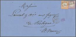 Deutsches Reich - Brustschild: 1872, Kleiner Schild ¼ Gr. Violett Und Großer Schild ½ Gr Orange Auf - Briefe U. Dokumente