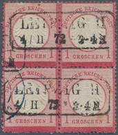 """Deutsches Reich - Brustschild: 1872, Kleiner Schild 1 Gr. Karmin Im Viererblock Mit Ra2 """"LEIPZIG II - Gebraucht"""