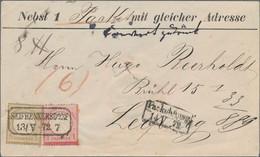 Deutsches Reich - Brustschild: 1872, Kleiner Schild 5 Gr. Ockerbraun Und 1 Gr. Karmin, Zwei Farbfris - Briefe U. Dokumente