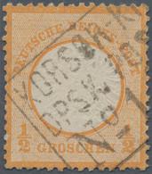 """Deutsches Reich - Brustschild: 1872, Großer Schild ½ Gr Orange Mit Zentrischem Ra3 """"KORSÖR-KIEL DPSK - Gebraucht"""