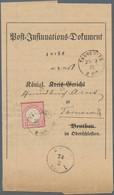 Deutsches Reich - Brustschild: 1872, Kleiner Schild 1 Gr. Karmin Auf Orts-Vordruck-Insinuationsdokum - Briefe U. Dokumente