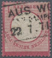 """Deutsches Reich - Brustschild: 1872, Großer Schild 1 Gr Karmin Mit Seltenem Ra3 """"AUS WOLLIN PER DAMP - Gebraucht"""