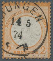 """Deutsches Reich - Brustschild: 1872, Großer Brustschild 2 Kreuzer Orange Gestempelt """"...UNGEN 14.5.7 - Gebraucht"""