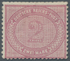 """Deutsches Reich - Pfennige: 1875, 2 Mark, Mittelrosalila Mit Plattenfehler VI """"obere Randlinie über - Ungebraucht"""