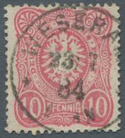 """Deutsches Reich - Pfennig: 1880, Freimarke 10 Pfennig Lebhaftkarmin Mit Plattenfehler """"Q-Strich Und - Gebraucht"""
