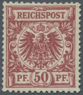 Deutsches Reich - Krone / Adler: 1889, 50 Pfg. Dunkelbräunlichrot, Karminrot Quarzend, Als Normal Ge - Ungebraucht
