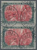 """Deutsches Reich - Germania: 1906, 5 Mark Grünschwarz / Dunkelkarmin, Unter Quarzlampe """"gelblichrot"""", - Gebraucht"""
