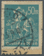 """Deutsches Reich - Inflation: 1923, """"50 Mark Bergarbeiter Bläulichgrün"""" Auf Kleinem Briefstück Mit Sa - Ohne Zuordnung"""