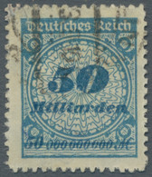"""Deutsches Reich - Inflation: 1923, """"50 Milliarden Mark Rosettenmuster Kobaltblau Durchstochen"""", Saub - Gebraucht"""