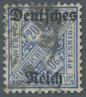 """Deutsches Reich - Dienstmarken: 1920, """"20 Pfennig Dunkelultramarin Mit Wasserzeichen Ringe"""" Gestempe - Dienstpost"""