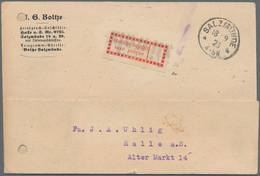 Deutsches Reich - Lokalausgaben 1918/23: 1923, HALLE (Saale), Zwei Interessante Belege Mit Gebührenz - Briefe U. Dokumente