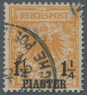 Deutsche Post In Der Türkei: 1889, 1 1/4 Piaster In Der Farbvariante Gelborange Gestempelt. Laut Fot - Deutsche Post In Der Türkei