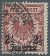 Deutsche Post In Der Türkei: 1889, 2 1/2 Piaster Auf 50 Pfennig In Der Farbvariante Braunrot Entwert - Deutsche Post In Der Türkei