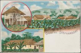 """Deutsch-Neuguinea - Ganzsachen: 1899, Gebrauchte Privatganzsachen-Litho-Karte """"Gruss Aus Stephansort - Kolonie: Deutsch-Neuguinea"""