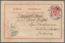 Deutsche Kolonien - Kiautschou - Ganzsachen: 1899, 10 Pfg. Marineschiffspost-Ganzssachenkarte Bedarf - Kolonie: Kiautschou