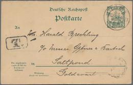 """Deutsche Kolonien - Togo - Ganzsachen: 1902, Frageteil 5 Pfg. Schiffszeichnung Bedarfsgebraucht Ab """" - Kolonie: Togo"""