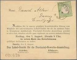 Danzig - Stempel: 1872, Großer Schild 1/3 Gr. Hellgrün Auf Privater Vordruck-Karte Mit Aptiertem K1 - Danzig