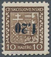 Sudetenland - Asch: 1938, 1,20 Kc. Auf 10 H. Staatswappen Mit Kopfstehendem Aufdruck, Ungebraucht (n - Sudetenland