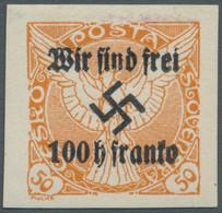 Sudetenland - Rumburg: 1938, 100 H. Auf 50 H. Zeitungsmarke Orange, Ungebraucht Mit Minimaler Falzan - Sudetenland