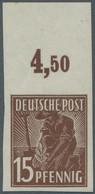 Alliierte Besetzung - Gemeinschaftsausgabe: 1947, Pflanzer 15 Pfg. Siena, Postfrisches Ungezähntes O - Gemeinschaftsausgaben