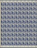 """DDR: 1952, """"Persönlichkeiten"""" 80 Pfennig Dunkellilaultramarin Im Postfrischem Kompletten Bogen Zu 10 - Ungebraucht"""
