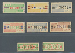 """DDR - Dienstmarken B (Verwaltungspost A / Zentraler Kurierdienst): 1958-59, """"Wertstreifen Für Den ZK - Dienstpost"""