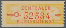 DDR - Dienstmarken B (Verwaltungspost A / Zentraler Kurierdienst): 1958, ZKD-Wertstreifen Mit Dünnen - Dienstpost