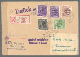 Berlin: 1949, Fernbrief Per Einschreiben 84 Pf, Mit MiF 2 Pf + 6 Pf Schwarzaufdruck Und Zusatzfranka - Briefe U. Dokumente