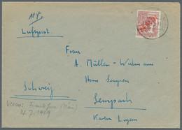 Berlin: 1949, 60 Pf Rotaufdruck Einzelfrankatur In Selt. Verwendung 12.7.49 Luftpost In Die Schweiz, - Briefe U. Dokumente