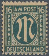 Bizone: 1945, AM-Post Deutscher Druck, 16 Pfg. Als Probedruck Auf Graustichigem Gummiertem Papier, D - Bizone
