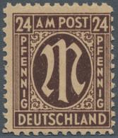 Bizone: 1945, AM-Post Deutscher Druck, 24 Pfg. Als Probedruck Auf Graustichigem Gummiertem Papier, D - Bizone