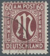 """Bizone: 1945, 60 Pfennig (dunkel)karminbraun Deutscher Druck In Der Zähnungsvariante 11 Entwertet """"G - Bizone"""