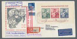 """Bizone: 1949, """"Hannovermesse""""-Block Entwertet Mit Entsprechendem Sonderstempel Vom Ersttag """"Hannover - Bizone"""