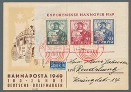 """Bizone: 1949, """"Hannovermesse""""-Block, Entwertet Mit Rotem Sonderstempel """"(24a) Hamburg 1 / 100 Jahre - Bizone"""