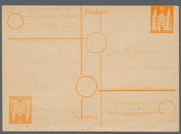 Bizone - Ganzsachen: 1948, Postkarte 8 Pfg. Orange 'Holstentor' Ungebraucht Als Sehr Seltener DOPPEL - Bizone