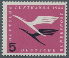 """Bundesrepublik Deutschland: 1955, Lufthansa 5 Pfennig Rosalila/schwarz Mit Plattenfehler: """"Abgeschla - Ungebraucht"""