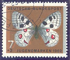 """Bundesrepublik Deutschland: 1962, 7 Pf. Braun/bunt Mit Abb. """"Schmetterling - Apollofalter (Parnassiu - Gebraucht"""