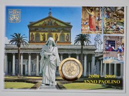 """Vatikan: 2008, Numisbrief Mit Der 2 Euro Sondermünze """"Paulus-Jahr"""" In Stempelglanz Und Den Briefmark - Vatikan"""