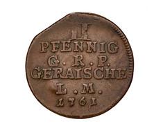 """Reuß Jüngerer Linie (Schleiz): REUSS-GERA; 1761, """"Heinrich XXV."""" 2 Pfennig In Sehr Schöner Gelackter - Ohne Zuordnung"""