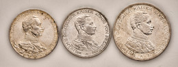"""Preußen: 1913-1914, """"Wilhelm II."""" Partie Mit 3 Mark 1913 In Vorzüglicher Erhaltung (fast Stempelglan - Taler & Doppeltaler"""