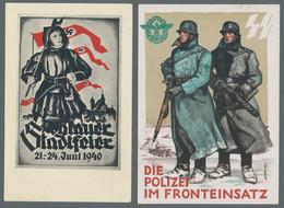 """Ansichtskarten: Propaganda: 1933-1945, Sammlung Von 33 Propagandakarten In Einem Album, Darunter """"De - Political Parties & Elections"""