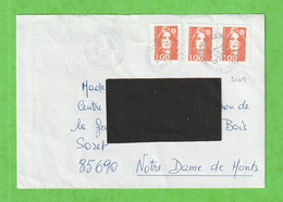 3 MARIANNE DU BICENTENAIRE 1F ORANGE ADHESIF LIGNES ONDULEES  SUR LETTRE DE 1996 - Briefe U. Dokumente