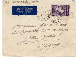 N°338 - MERMOZ- Seul Sur Devant De Lettre Expedition Avion Pour La Belgique - Briefe U. Dokumente